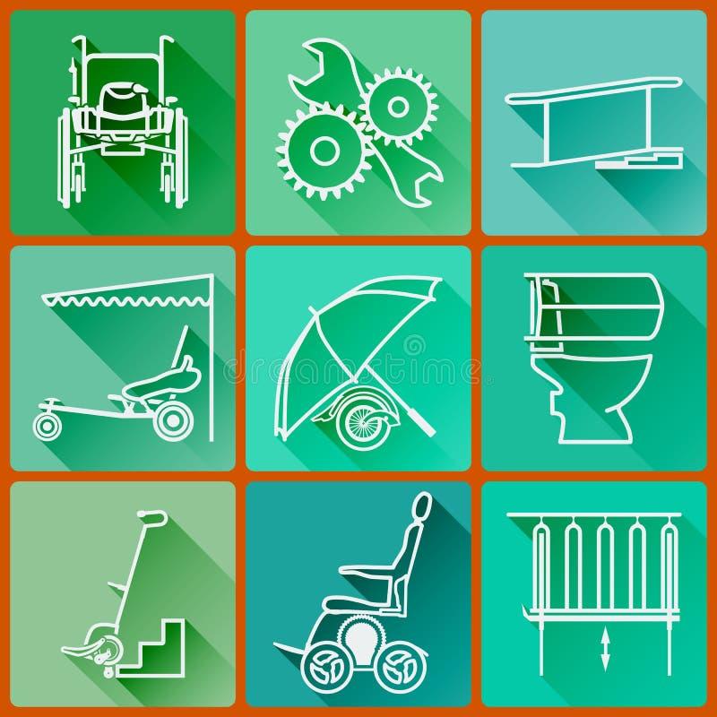 Équipement pour des personnes avec des incapacités Ensemble d'icônes colorées plates dans un style à la mode avec de longues ombr illustration de vecteur