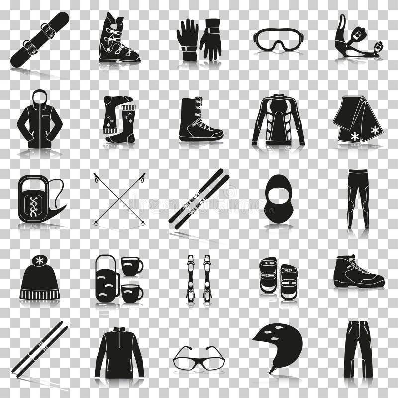 Équipement pour des sports d'hiver Icônes de silhouette avec la réflexion sur le fond transparent illustration de vecteur