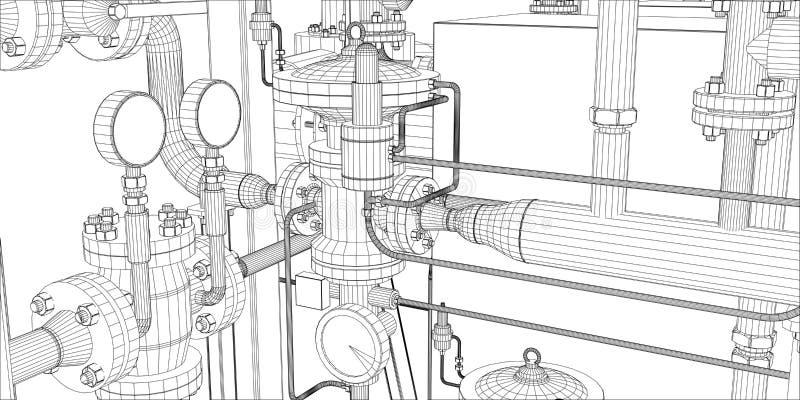 Équipement pour le système de chauffage illustration de vecteur
