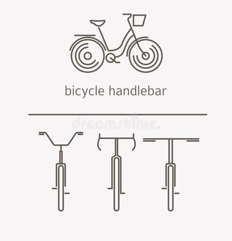 Équipement pour le transport conduisant l'ensemble de logo Guidon de bicyclette, chambre illustration libre de droits