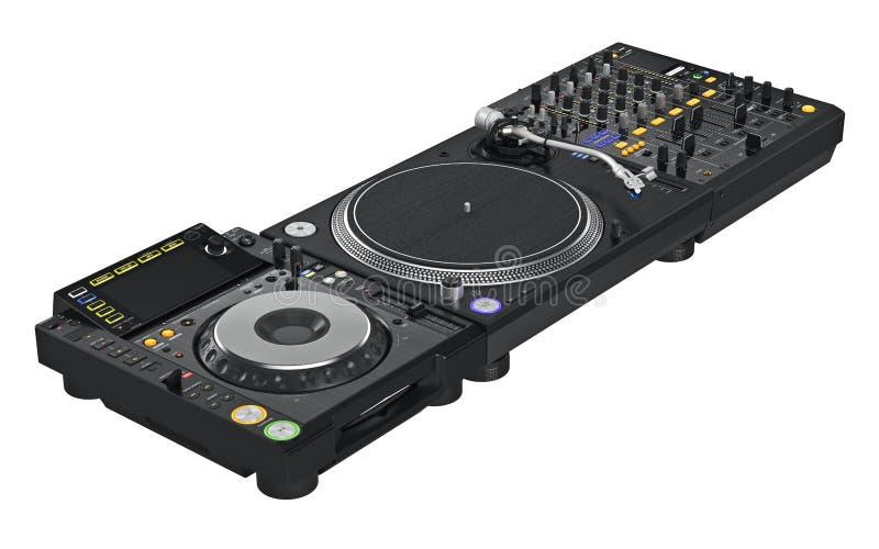 Équipement réglé de mélangeur du DJ de noir illustration de vecteur
