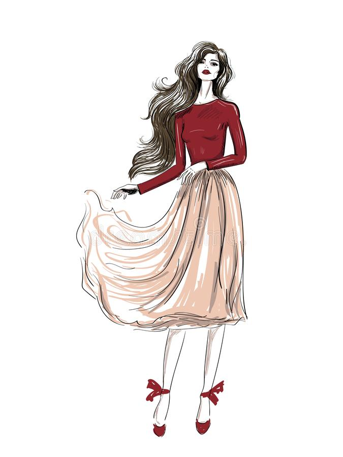 Équipement romantique de mode avec le croquis onduleux de jupe illustration stock