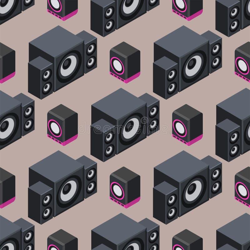 Équipement sans couture de subwoofer de joueur de haut-parleurs de musique de modèle du vecteur 3d acoustique stéréo isométrique  illustration libre de droits