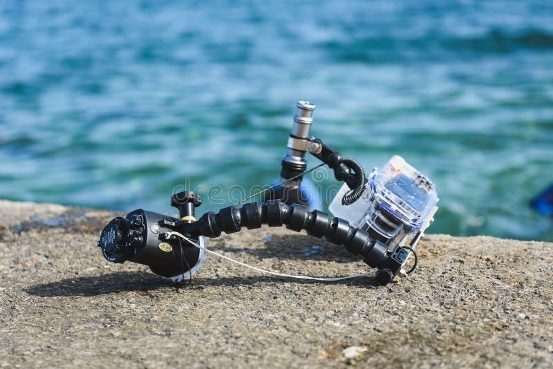 Équipement sous-marin professionnel de photographie pour des WI d'appareil-photo de DSLR photo libre de droits