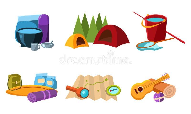 Équipement touristique, outils pour augmenter, pêcher et camper, accessoires pour l'illustration de vecteur de voyage illustration libre de droits