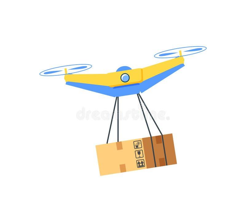 Équipement volant avec la boîte accrochante, vecteur de bourdon illustration stock