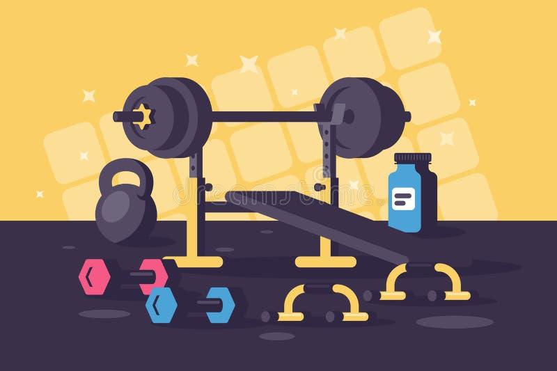 Équipements de sport pour des stages de formation lourds illustration libre de droits