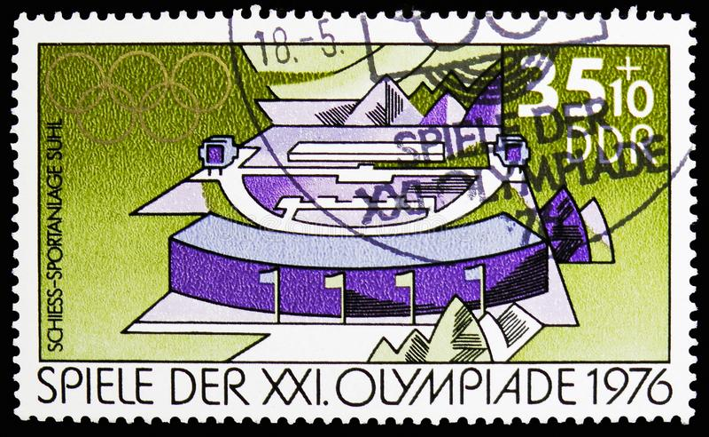 Équipements de sports de tir à Suhl, Jeux Olympiques d'été 1976, serie de Montréal, vers 1976 images stock