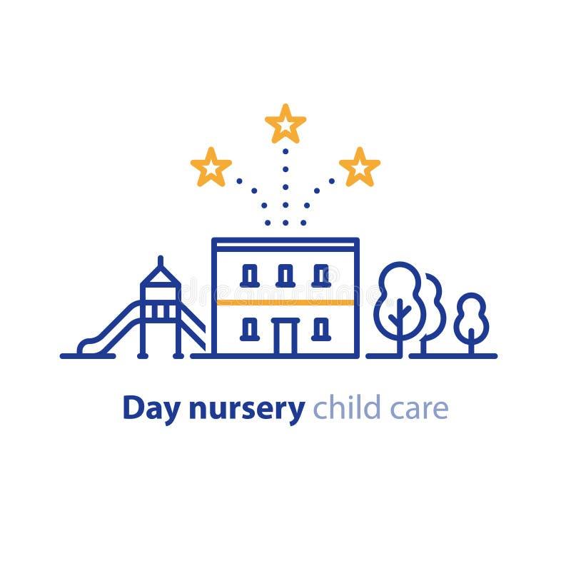 Équipements locaux pour des enfants, ligne icône de jardin d'enfants illustration de vecteur