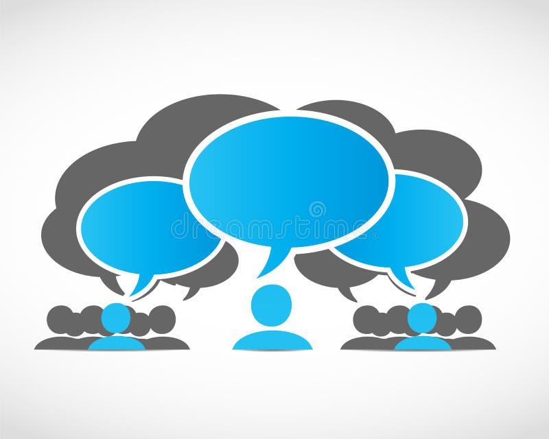 Équipes d'affaires avec des bulles de pensée illustration stock