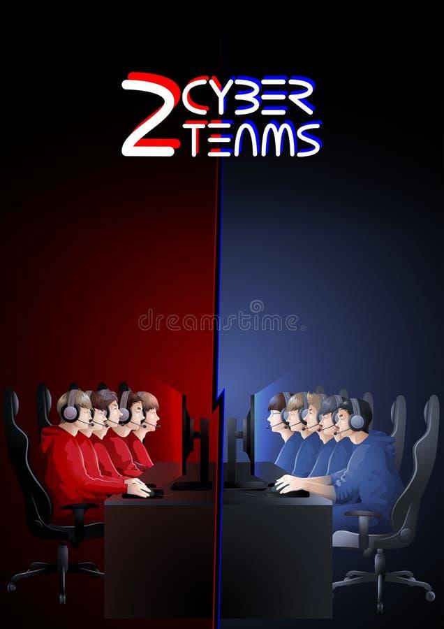 Équipes de sport de Cyber dans deux couleurs illustration libre de droits