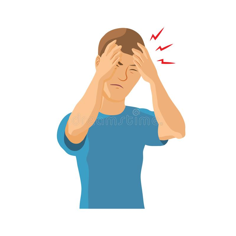 Équipez avoir le mal de tête, migraine illustration libre de droits