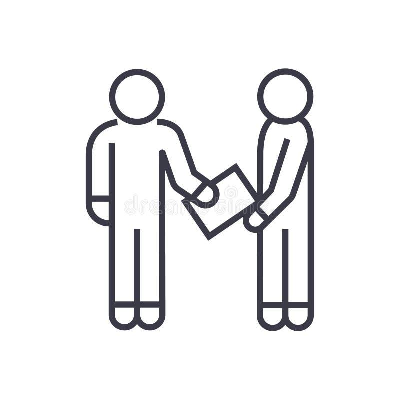 Équipez donner à document l'icône linéaire, le signe, symbole, sur le fond d'isolement illustration stock