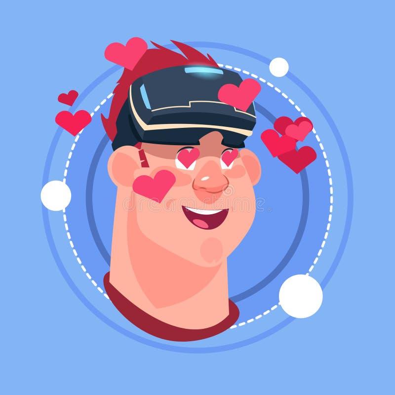 Équipez Emoji masculin de sourire heureux portant le concept virtuel d'expression du visage d'avatar d'icône d'émotion en verre 3 illustration stock