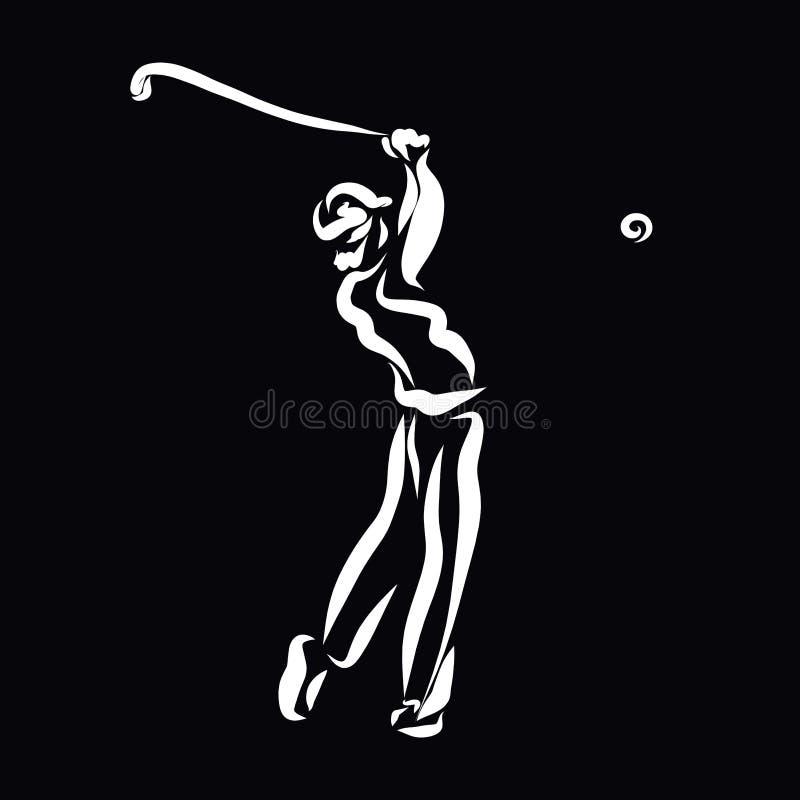 Équipez jouer le golf, croquis blanc sur un fond noir illustration libre de droits