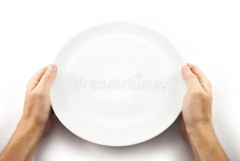 Équipez juger la nourriture de attente de plat vide d'isolement sur le blanc de la vue supérieure images stock