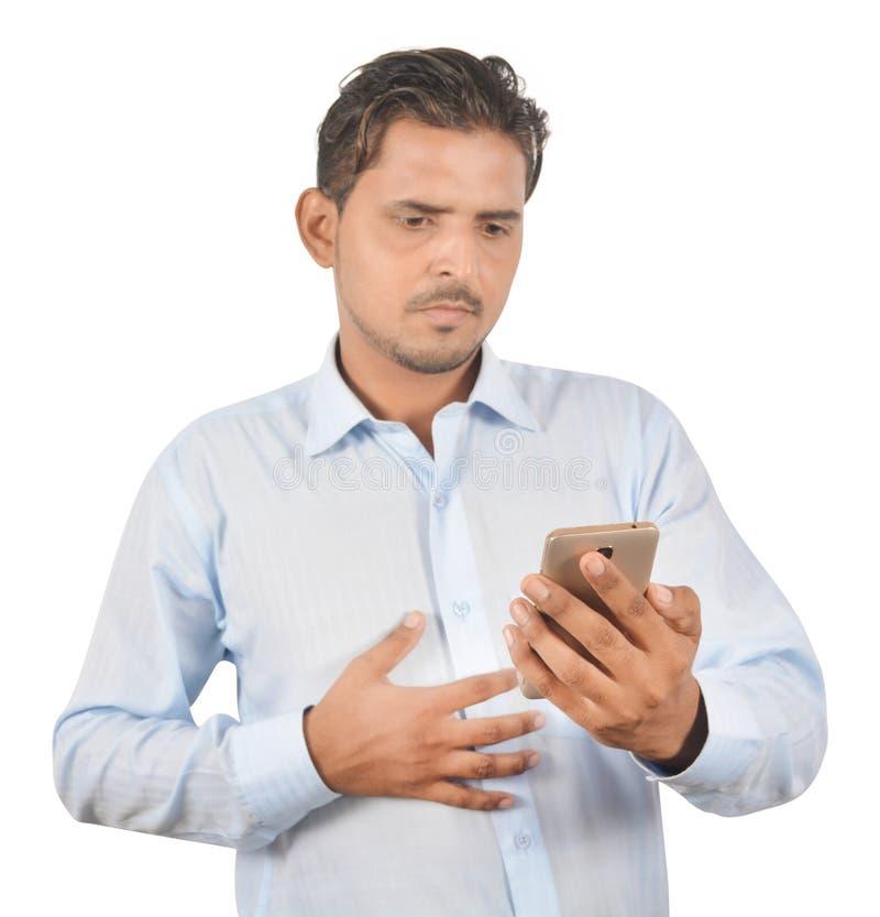 Équipez juger le téléphone androïde professionnellement d'isolement sur le backg blanc photographie stock libre de droits