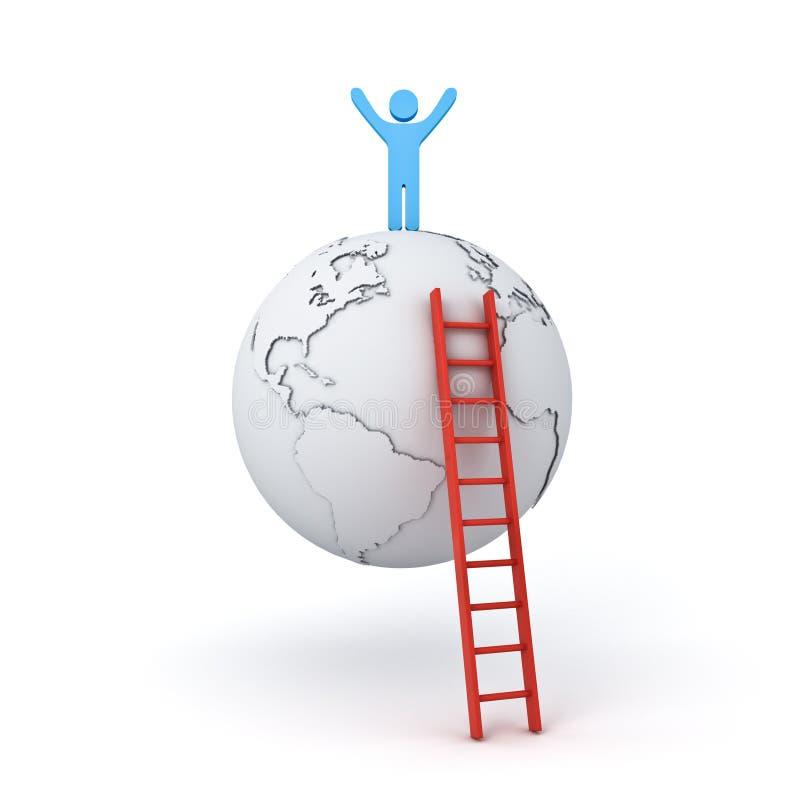 Équipez l'échelle s'élevante à tenir avec des bras grands ouverts sur le toit du monde le concept de but d'affaires illustration libre de droits