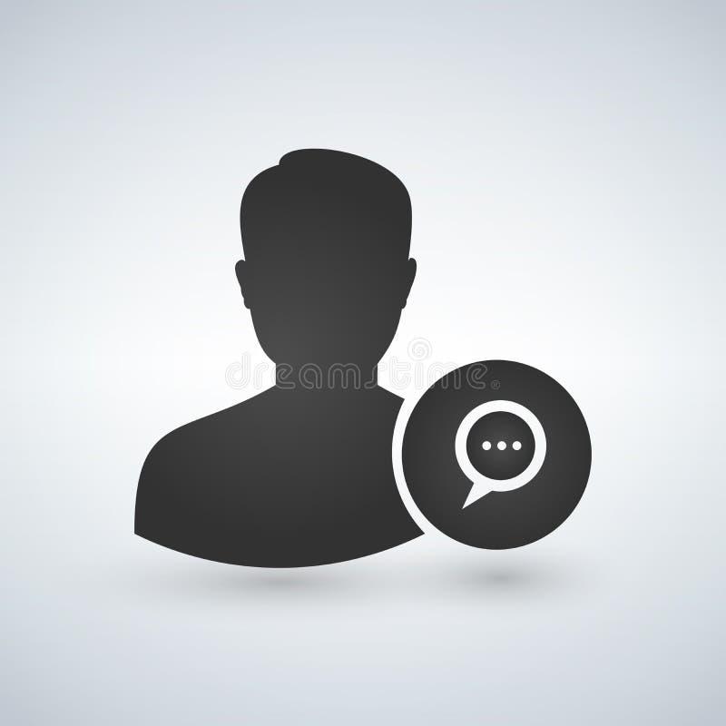 Équipez l'icône d'avatar d'utilisateur - illustration de vecteur de Glyph de Person Profile With Chat Bubble illustration stock