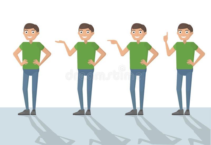 Équipez la bande dessinée drôle de personne masculine occasionnelle dans diverses poses dirigeant W illustration stock