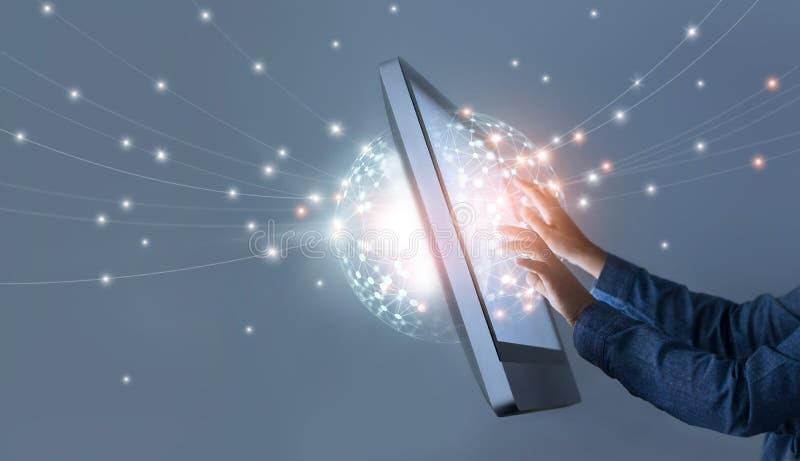 Équipez la connexion globale de mise en réseau de cercle émouvant, media social image stock
