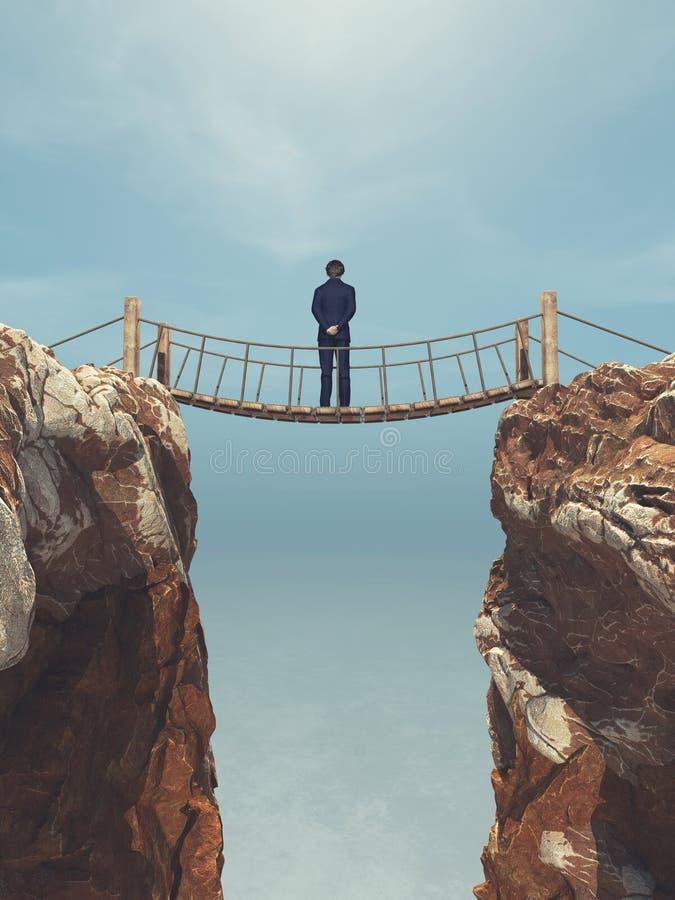 Équipez la corde passant au-dessus d'un pont suspendu entre les montagnes illustration de vecteur