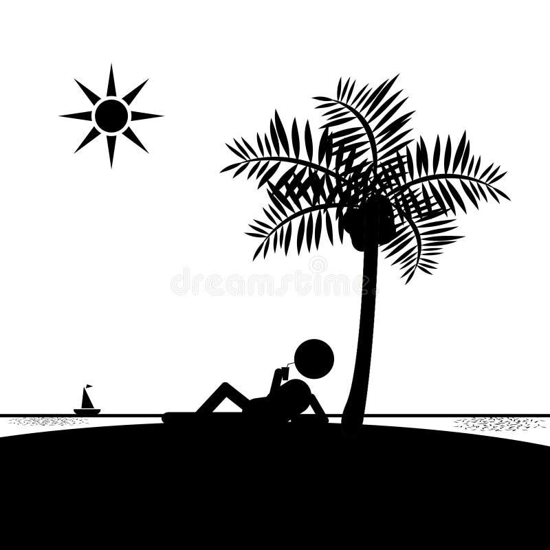 Équipez la détente sur la plage/île buvant sous Coconu photos stock