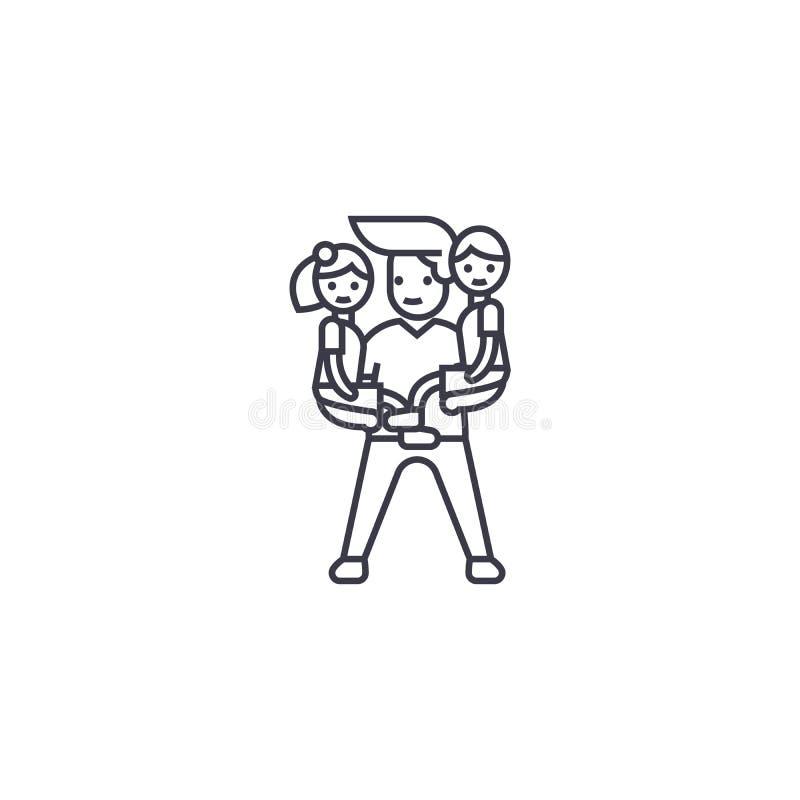 Équipez la ligne icône, le signe, illustration de vecteur de babysitter sur le fond, courses editable illustration libre de droits