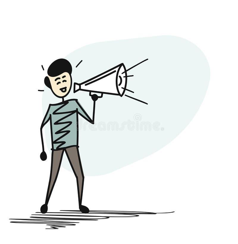 Équipez la main tenant le concept de mégaphone de l'annonce d'affaires illustration de vecteur