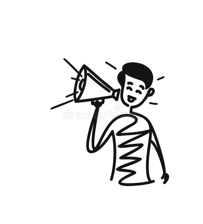 Équipez la main tenant le concept de mégaphone de l'annonce d'affaires illustration stock