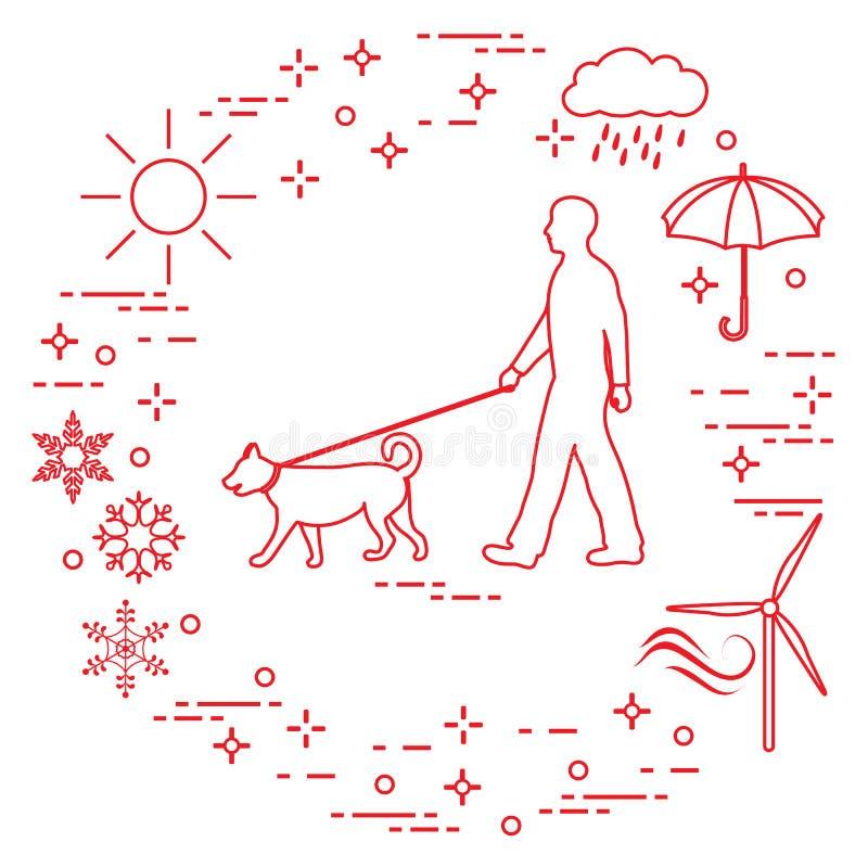 Équipez la marche un chien sur une laisse par n'importe quel temps illustration libre de droits