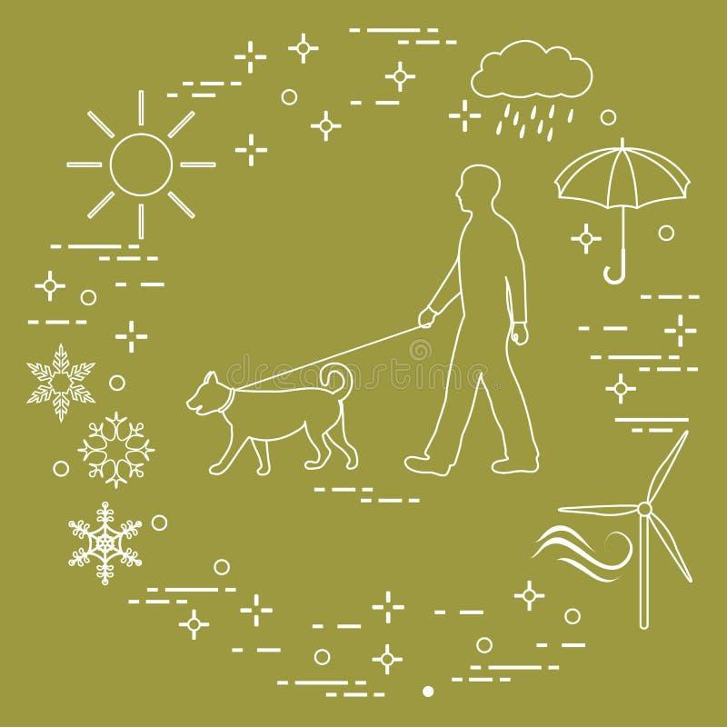 Équipez la marche un chien sur une laisse par n'importe quel temps illustration stock