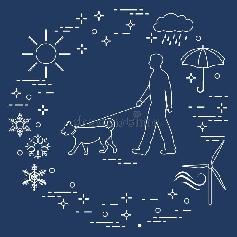Équipez la marche un chien sur une laisse par n'importe quel temps illustration de vecteur