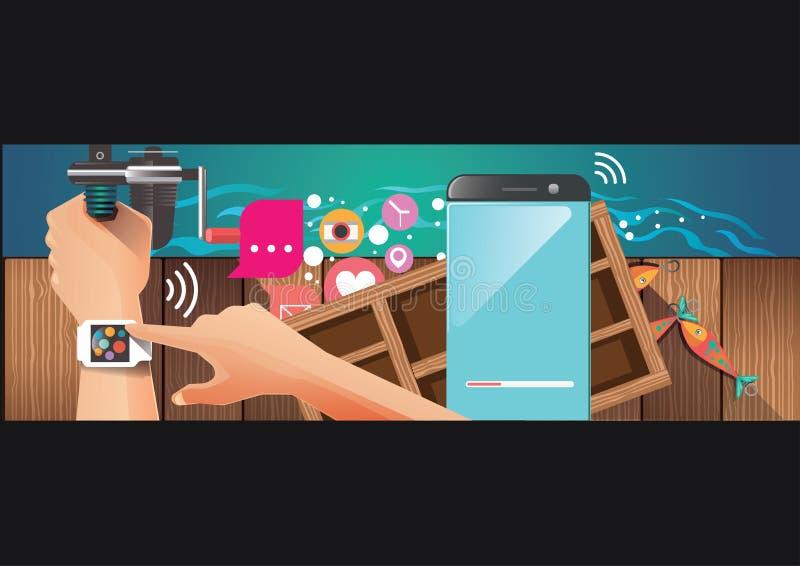 Équipez la montre intelligente de port utilisant des vacances et la pêche image libre de droits