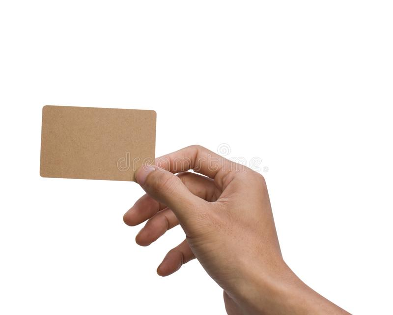 Équipez la participation de main, apparence, donnant, le présent, OIN vide de carte de brun photo stock