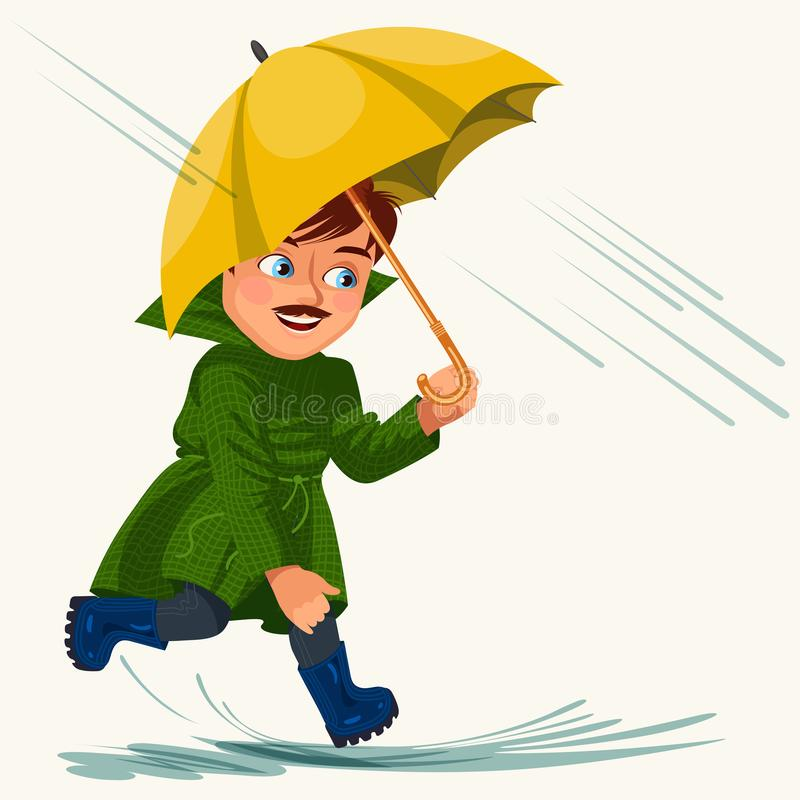 Équipez la pluie de marche avec des mains de parapluie, gouttes de pluie s'égouttant dans les magmas, bottes en caoutchouc de ves illustration stock