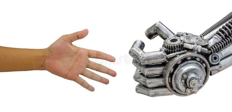 Équipez la poignée de main de main avec le robot de CY-jujubes d'isolement sur le backgrou blanc photo stock