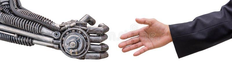 équipez la poignée de main de main avec le robot de CY-jujubes d'isolement sur le blanc photos stock