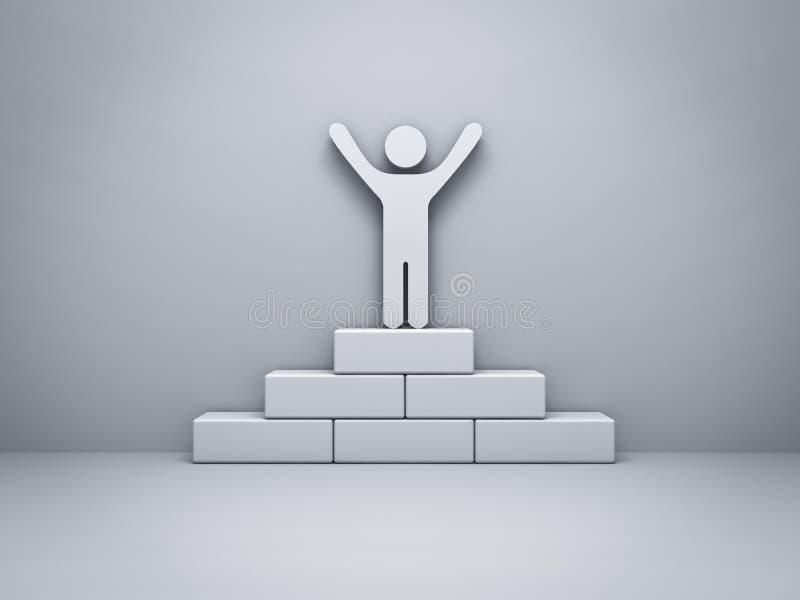 Équipez la position avec des bras grands ouverts sur le concept de gain de podium avec l'ombre illustration libre de droits
