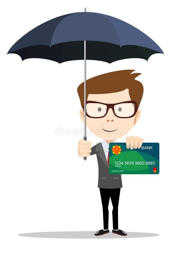 Équipez la position sous le parapluie et protégez des cartes de crédit illustration de vecteur