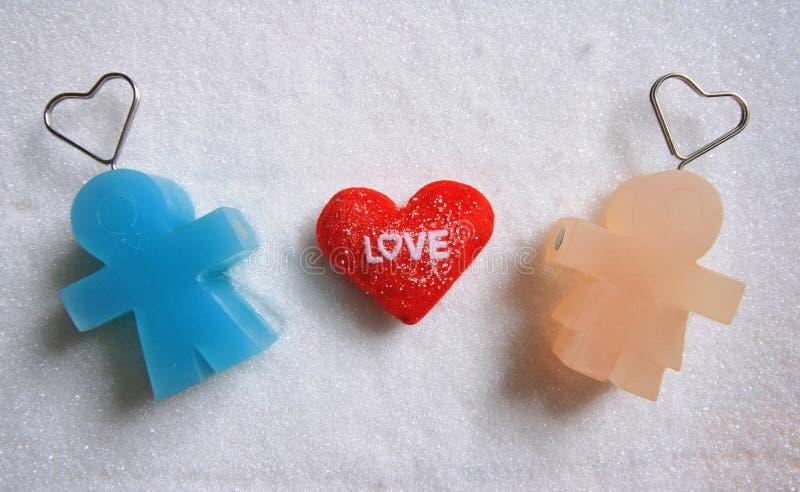 Équipez la poupée avec amour de poupée et de textes de femme sur le fond de sucre photos libres de droits