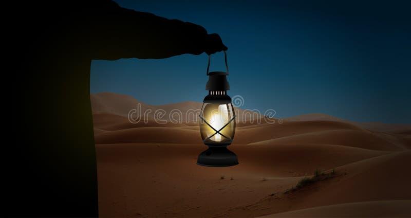 Équipez la silhouette tenant une scène de désert de nuit de lampe illustration stock