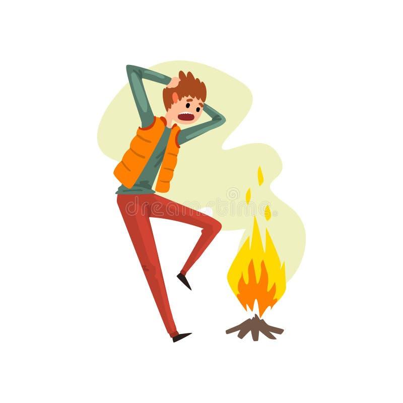 Équipez la souffrance du pyrophobia, crainte irrationnelle du feu, illustration humaine de vecteur de concept de crainte sur un f illustration libre de droits