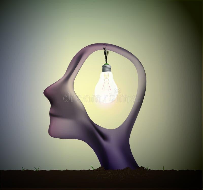 Équipez la tête de profil avec l'ampoule à l'intérieur, rêve d'inspiration, pensez le rêve différent et surréaliste, illustration libre de droits