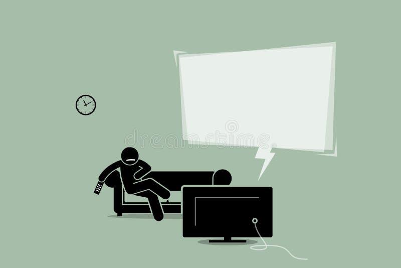 Équipez la TV de observation et se reposer sur un divan de sofa illustration de vecteur
