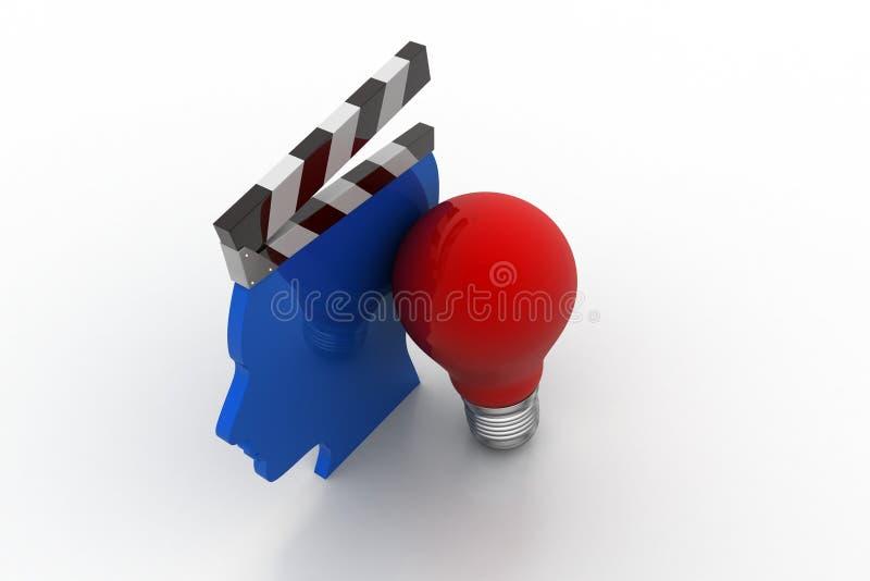 Équipez le bardeau principal avec l'ampoule, nouveau concept d'idée illustration libre de droits