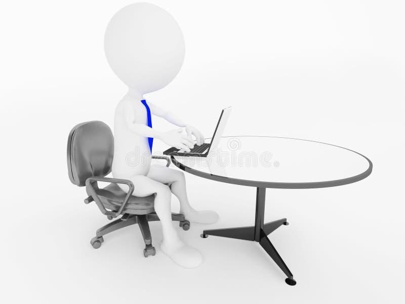 Équipez le caractère se reposant dans la présidence de bureau avec l'ordinateur portatif illustration stock