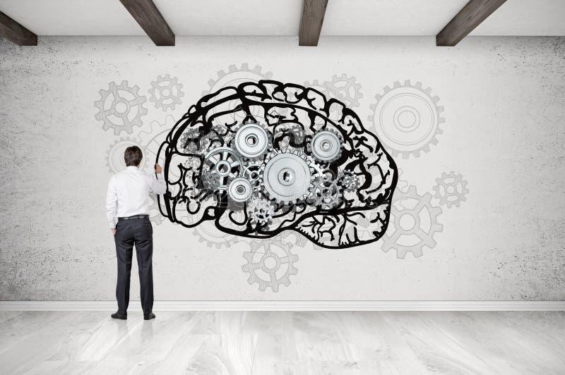 quipez le cerveau de dessin sur le mur en b ton avec des dents image stock image du trains. Black Bedroom Furniture Sets. Home Design Ideas