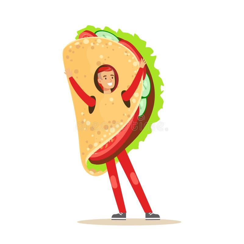 Équipez le costume mexicain de port de fajitas, illustration de vecteur de caractère de casse-croûte d'aliments de préparation ra illustration libre de droits