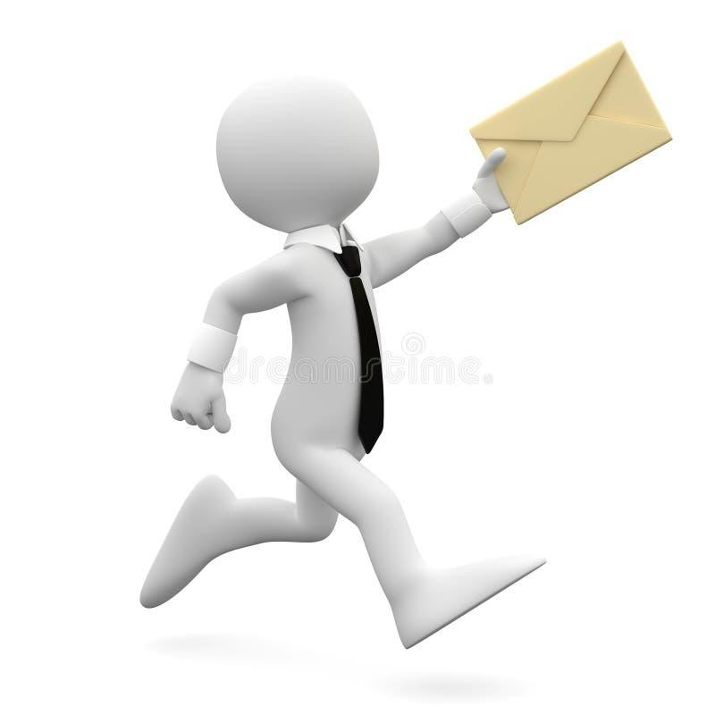 Équipez le fonctionnement avec le procès et la relation étroite, avec une lettre dans salut illustration stock